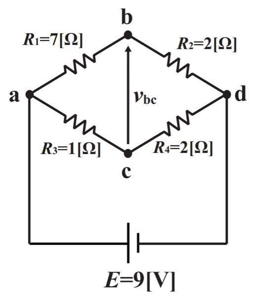 この電気回路の問題を教えてください。 画像の回路でbc間に生じる電圧v(bc)を求めよ。