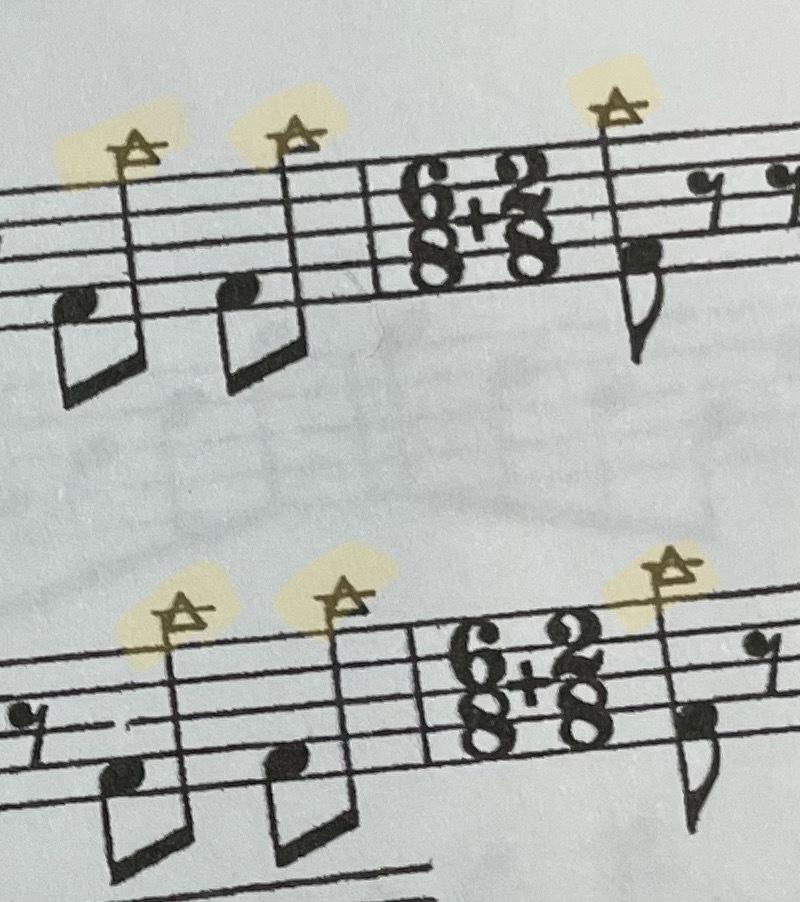 シンバルの楽譜です。 この三角形があると どのような叩き方になるのでしょうか? 教えて頂けると嬉しいです。