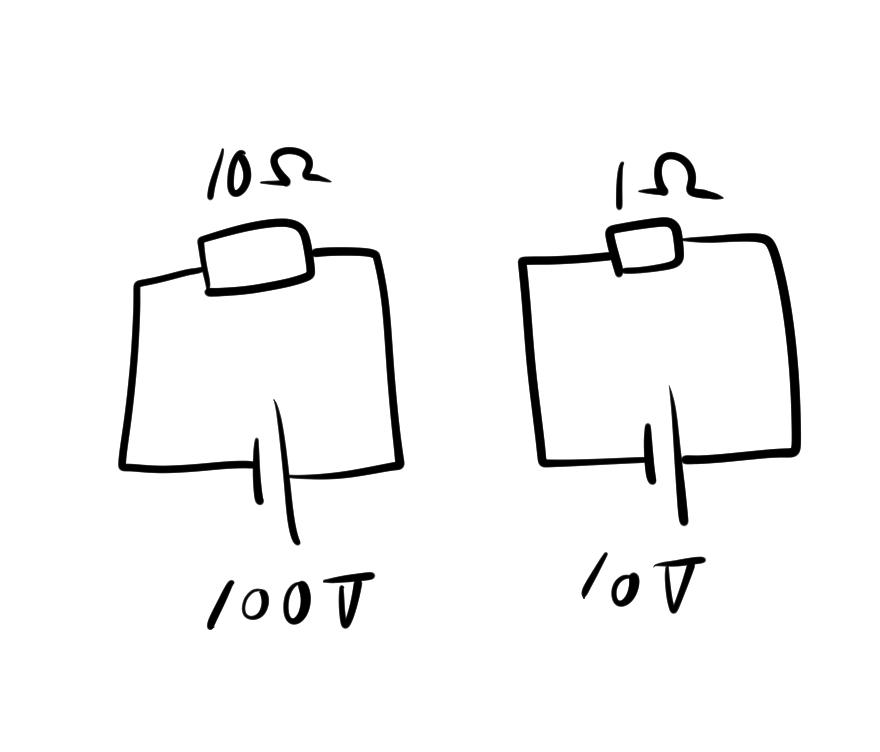 等価回路とは? この図のように、電圧や抵抗の数値が全然違っても、 回路の構成や値の比率が同じ場合、等価回路と言って良いですか?