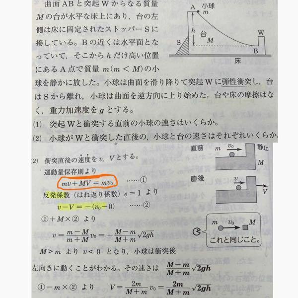 この問題の⑵って最初小球の速さは0だから運動量保存則は 0=mv+MV じゃだめなんですか??