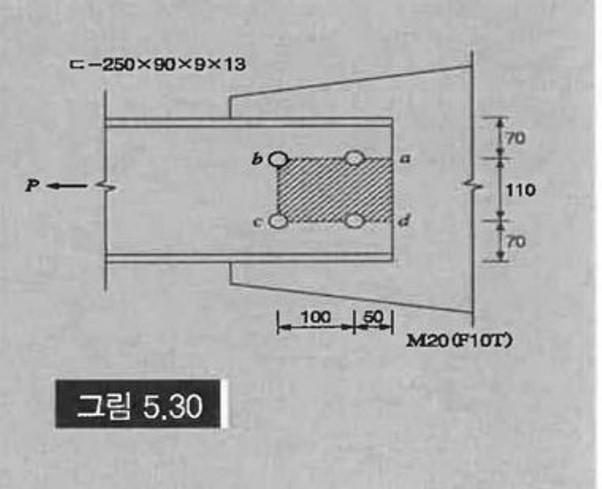 図5.30のような引張部材ドゥ-250x90x9 x13のブロックせん断強度を求めよ。 ただし、形鋼の材質はSS400でM30(F10T)を使用する。 高張力ボルトは 誰か教えてください。お願い...