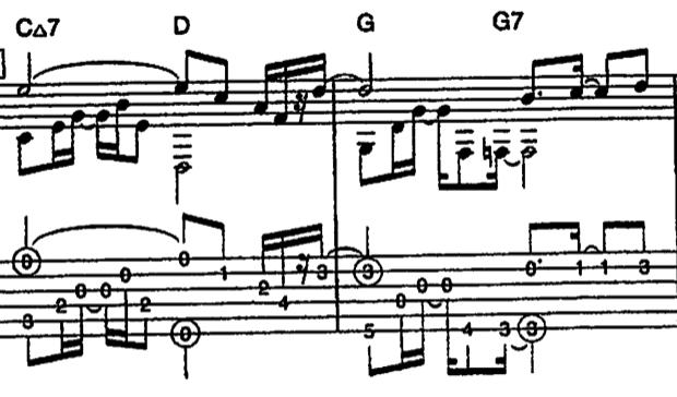 この楽譜を指で弾く場合、どの指でどう弦を押さえるかと、右手はどの指で弾けば良いか、 分かる方がおりましたら教えていただきたくお願い致します。 ゆっくり練習しても、いまいちどの指で押さえ、弾いたら良いか分からず、練習が上手く進みません。