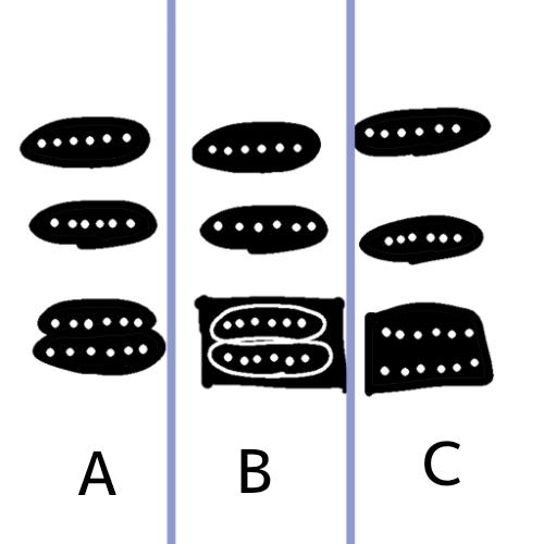 24フレットのSSHのギターのイラストを描いているのですが、ピックアップはどのように描くのが正しいのでしょうか? 一応画像のAのような形で描いているのですが、問題ないですか? それとも一番下のハムはBやCのように四角で描いた方がいいのでしょうか? ギターの画像を検索しても、細かいところは拡大しても画像が荒く、詳しい方、お願いします。