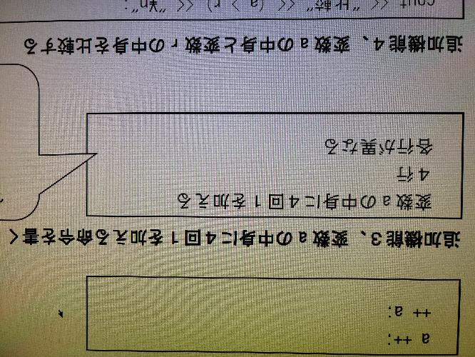 c++言語のプログラミングについて、 真ん中の問のプログラムが分かりません。 お詳しい方教えてください。。。