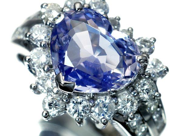 宝石に詳しい方に質問です サファイア3.88ct パープルブルーカラー(ハートシェイプ非加熱サファイア&ダイヤモンド) ダイヤモンド(総計1.00ct)Pt900リング 日本宝石科学協会発行の宝石鑑別書及、非加熱分析表付属になります 上記の品を13万で手に入れました お買い得だったと思っていますが、実際はどうでしょうか?