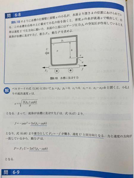 流体力学に関する質問です。5行目のf=-2a(pa-ρgh)の部分がわかりません。なぜ、こうなるのでしょうか?