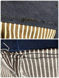 ミシンの扱いに慣れている方や洋裁が得意の方に質問です。 画像のようになってしまう原因がわかりません。  8号帆布生地とヒッコリー生地を縫い合わせてるのですが、上糸も下糸もこのようになってしまいます。 ちなみに ミシン針:#16 ミシン糸:上糸下糸共に#30 上糸の調整は、自動にしてみたり、強め?にしたりと色々試してみましたが、変化がありません。  2日ほど前からコツコツ縫っているのですが、2...