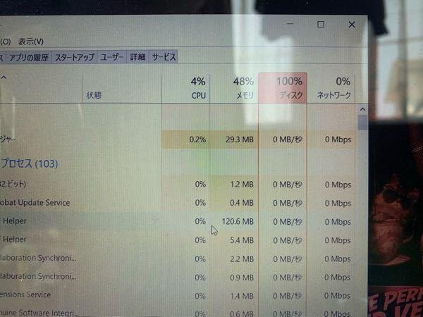 Windows10です 何も開いていないのにディスクがずっと100%でPCがとても重いです。仕事にならないのでとても困ってます。 どうしたら改善するでしょうか?