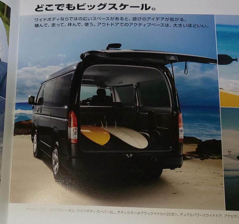 ハイエースのカタログですが、このような写真は本物なんですか? 写真によっては合成という説明があったりもしますが、この写真にはありません。 下に「Photo:2WD・2800ディーゼル・ワイドボ...