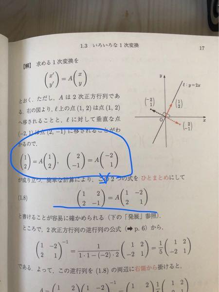 l:y=2xに関する対称移動表す一次変換を求めよという問題でまるで囲んだところをひとまとめにできるのは何故ですか