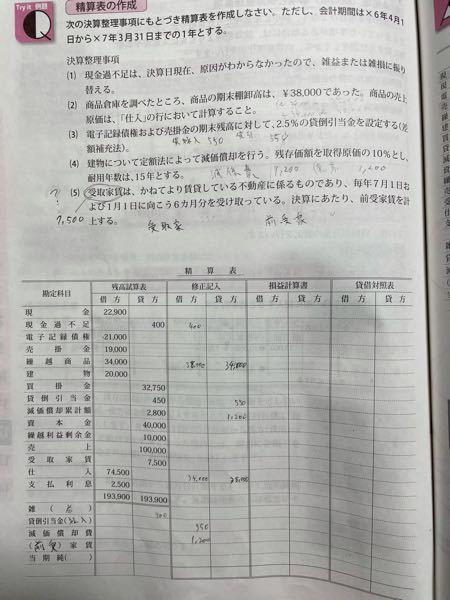 商業簿記3級の決算整理についてです 以下の問題(5)がわかりません
