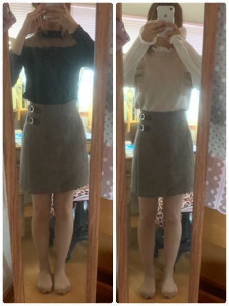 このチェックのスカートにはどっちのトップスのほうが似合うと思いますか?センスとか全くなくててきとうにあわせたのですが、おかしくないでしょうか。どっちも合ってないとかでも構いません。客観的な意見お願いし ます