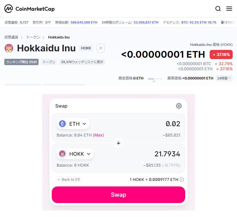 はじめてUNISWAPを利用して、Hokkaidu Inu(HOKK)とEthereumのスワップをしようとしています。 CoinMarketCapでHOKKは<0.00000001 ET...