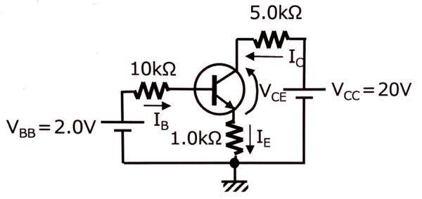 IC,IE,IB,VCEの求め方を教えてください。 トランジスタがONのときVBEは0.60Vで一定 hFE=100とする
