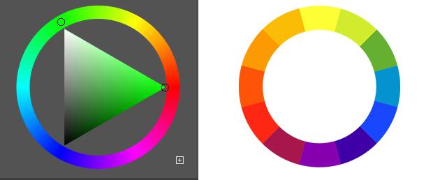 緑の補色は何色ですか? 下の2つのカラーホイールの補色が 左 緑→紫(RGB) 右 緑→赤(RYB) どちらの補色が正しいんでしょうか? 理由も教えていただけたら幸いです。