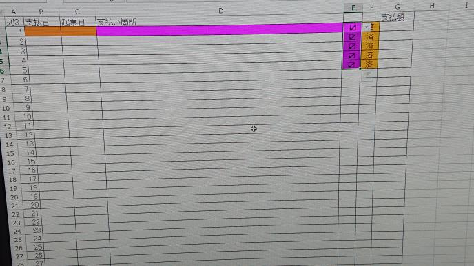 Excelの質問です。 去年度の表はできてましたが今年度の表はできません。 去年度のExcelファイルをコピーして文字だけ消せばできますがよんどころない事情でできません。 写真に写っているのは最終的にこうしたいというものです。 ①E2に✔️が入力されてますが✔️を入力するとD2:D500までピンクに塗りつぶしをする条件付き書式を入れたいです。(1行ずつです) ②F2に済が入力されてますが済を入力するとB2:C500までを黄色く塗りつぶしをする条件付き書式を入れたいです(1行ずつです) ③済と✔️も写真のように色を塗りつぶしたいです。入力すると塗りつぶしたいです。 乱文、すみません。 理解できた方に回答いただきたいです。 よろしくお願いします。