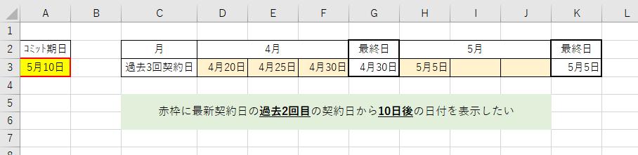 エクセルについて質問です。 下記の画像の赤枠の日付にしたいです。 少しややっこしいですが お分かりになる方よろしくお願いします。 因みにoffice2016です