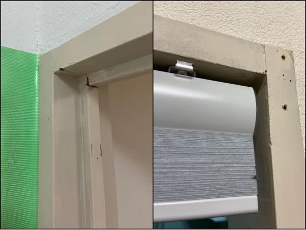 ドア枠の戸当り撤去について 築40年強の古いマンションをセルフリフォームしています。扉を撤去したドア枠に画像右のようなハニカムシェードを取り付けたいのですが、戸当りが干渉するので何とか撤去したいです。 接着されてる感じではないので、おおざっぱに取ったあとサンダーで整えペンキを塗って仕上げようと、(画像には写ってませんが)糸鋸で3cmほど粗く切り落としたところで作業の果てしなさにストップしています。 なるべく簡単に撤去出来たらと思うのですが、ノミ・バール・その他電動工具使用など、効率的な方法をアドバイスいただけないでしょうか? ・ドア枠は残して戸当りだけ(上枠縦枠全て)を撤去したい。 ・サンダーを使うつもりですがシェードが取り付けられたら良いので仕上がりの面は気にしない。 以上、よろしくお願いいたします。