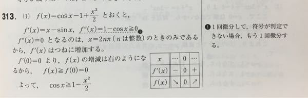 数3の微分の不等式の質問です。下の画像ではf'(x)=x-sinxの正負が判定できないからもう1回微分してるんですが、2回微分をせずに、f'(x)にx=π/2、-π/2などを代入して正負を判定し、増減表を書くというやり方はダメ ですか?