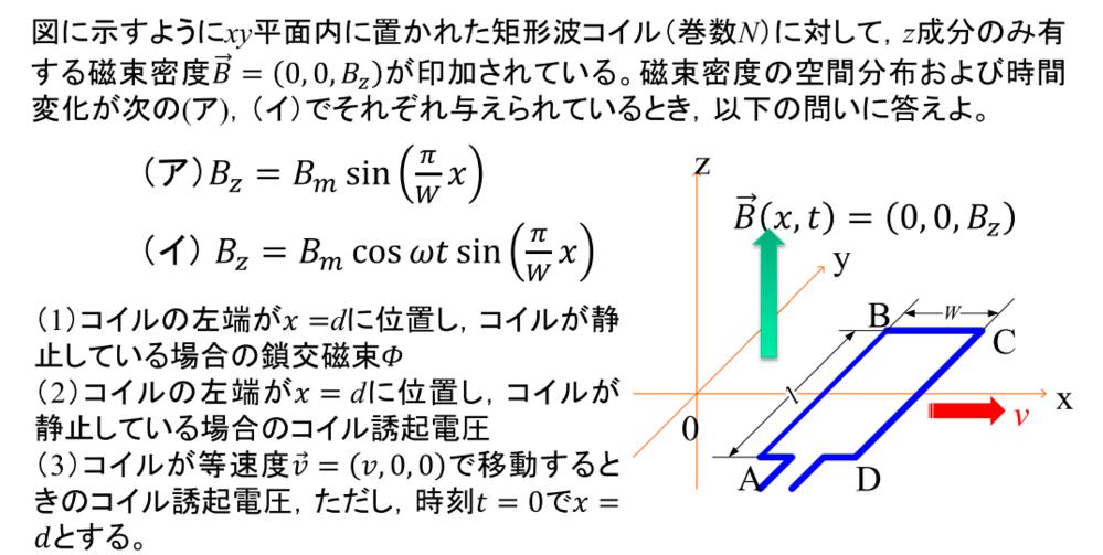 電磁気学について 変化する磁束密度での矩形波コイルの鎖交磁束についての問題です よろしくお願いします