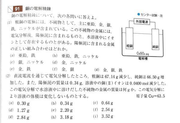 ⑵の解答に、純銅の質量増加66.50gは析出した銅の質量なので、粗銅から溶けだした銅の質量は 66.50-2.54=63.96gとあるのですが、どういうことですか?