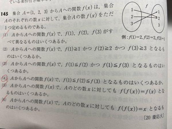 (5)の f(f(x))=f(x) と、(6)の f(f(x))=x が意味してることを教えて欲しいです