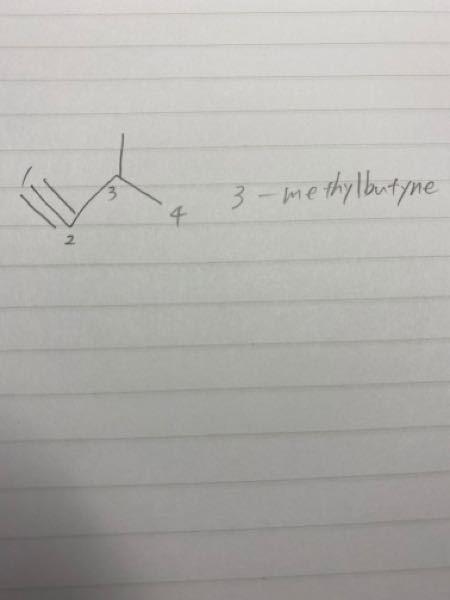 高校化学 この構造式の命名は、3-メチルブチンで合ってますか?? また、単にメチルブチンだけで言うことはありますか??