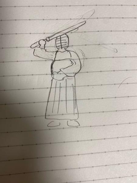 剣道やってる高校生です。打って振り返る際にこのような構えをする先輩がいます。追いかけて打とうとしても、打てそうな場所がわかないので何もできませんでした。この構えに対して打てる技はありますか?絵が...