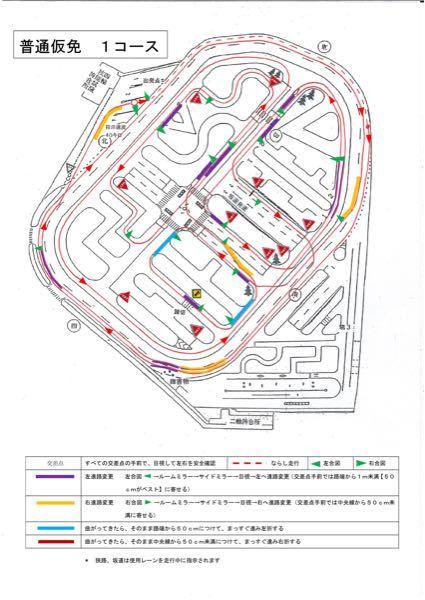 仮免許の試験についてです、 来週、光明池試験場で試験受ける予定でコースなどを調べてこの図が出てきました、 こちらの図の発着点に緑の矢印(左右合図)が2つありますが、発着点から出る時はどっちの合図...