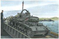 戦車に詳しい方に質問なんですが、これはなんていう戦車ですか? 背景が海(川か池かも)という事とホースのようなものが付いてる事からして水陸両用戦車ですか?