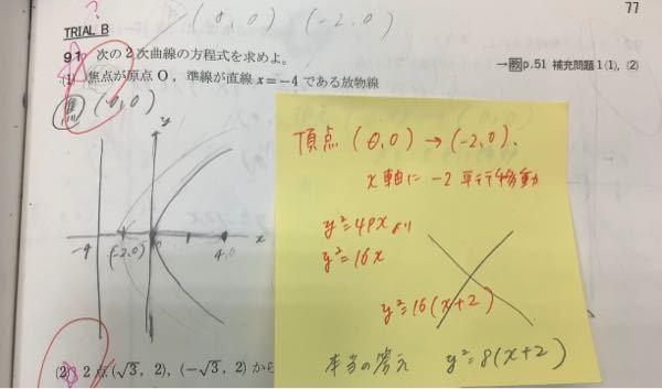 答えは y2乗=8(x+2)なんですが、 なぜこうなるのか分かりません。 明日テストなのでお願いします