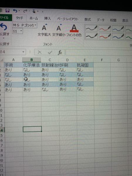 Excelの表で手術のあり、なし何人、化学療法あり、なし何人というように集計を行いたいのですが、どうやればいいでしょうか。