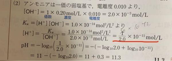 赤線で引いたところの答えなのですが5.0×10^-12mol/Lでも答えとしてあっていますでしょうか? 回答よろしくお願い致します。