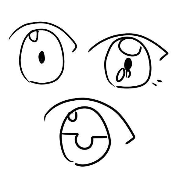 目の中の塗り方とか描き方教えてください!! またはサイト?でもいいです。 私はこんなやつしか描けません。 皆さんはどうやって目の中の形とか色の塗り方を考えてるんですか?コツも教えてください!!