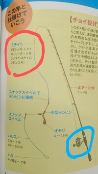シロギスの投げ釣り PE0.6号とは  シロギスを砂浜で投げ釣したいです。 本には、画像のように PE0.6号と書いてあります。 PE 0.6号は、釣具店で見たところ、 リールに巻きついていないもので、 透明の大きめの糸巻きに巻きついていました。  自分の手元のチョイ投げセットの竿には、 リールがついていて、 道糸(2号)が100mくらい巻いてあります。  この道糸を全部裸にして取り外して、...
