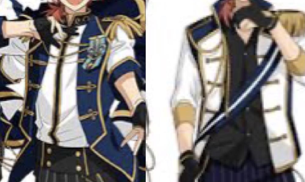 襟の名前について こんにちは。 『あんさんぶるスターズ!!』という作品の『Knights』というユニットの衣装を作りたいのですが、画像の衣装のジャケットの襟の名前がわからず、検索をかけてみたのですがそれらしいものが見つかりませんでした。 もしかしたら騎士というコンセプトなので、中世などの服のデザインから取っているのかもしれないのですが、絞りきれず……。 前作の『あんさんぶるスターズ!』でも同様の襟のついた衣装でした。(今作は画像の左、前作が右のものです) こちらの形にはなにか名前があるのでしょうか? それともこれらの衣装独自のものになるのでしょうか。 画質が悪く、少々わかりづらくなってしまっているのですが、よろしくお願いいたします。