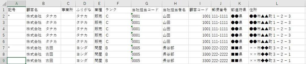SQLにおいて、添付のような結果を取得したいです。 A列以外は取得できているのですが、A列はグループの中で先頭行に*を付けるというものです。何か良い方法はありますでしょうか。 SQLServerです。
