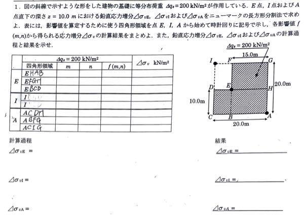 土質工学の問題です 表含め、ほとんどわからないのでわかる方いたら教えて欲しいです