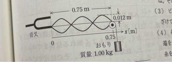 物理の問題について教えてください。 下の図を使って 1 弦の伝わる波の波長 2弦を伝わる波の速さ 3音叉の振動数 上記3つの求め方と答えを教えてくださいm(_ _)m 弦密度9.80×10^-4kg/m 重力加速度を9.80m/s^2 でお願いします。