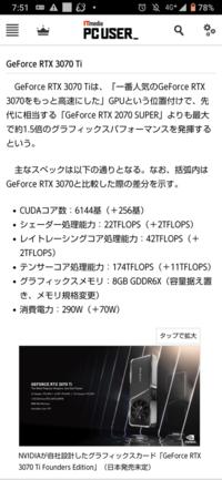 RTX3070tiの消費電力が増えすぎる。 RTX3070と比較して70Wも増えていますがCUDAコア数が256基で2TFLOPS増えただけでプラス70wになるのでしょうか?クロック数が大幅に上がってゲーム性能がかなり上がっているのかな? https://www.itmedia.co.jp/pcuser/spv/2106/01/news121.html