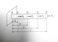 材料力学の問題です 断面積はA,ヤング率はEとして、下の写真のAC,CD,DE,EB間の応力と棒全体の伸びの求め方を 教えてください!!