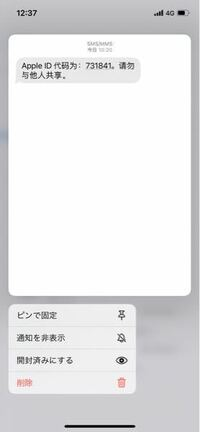 突然メッセージに中国語でこのようなものが送られてきました。訳してみたところApple IDの確認コードが送られてきたようなのですが、乗っ取りなどの心配は大丈夫でしょうか?