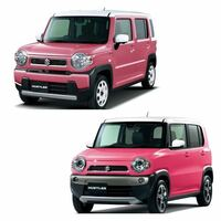 旧型ハスラーと新型ハスラーのピンクって同じような色ですか? 新型ハスラーの方がくすんでるように見えるのですが、光の加減なのでしょうか。