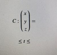 点A(-1,0,2)から点B(1,2,4)に向かう線分をCとした時、線分Cをパラメータ表示したいのですが、どうすれば良いですか?