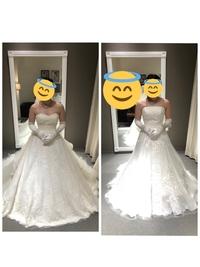 ウエディングドレスについて質問です。  先日、ドレスの着用をしてきたのですが、 デザイン的には左側が1番いいなあと思っています。 しかし写真で見ると、バストの位置が低かったり鳩胸のせいか、綺麗に着れてないような感じがあって 右側の方が違和感がなく、着れているように感じるのですがどう思いますか?  なにか工夫すれば綺麗に着れるのでしょうか、、、やはり痩せた方がいいんでしょうか??