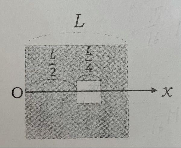 下の図のように、一辺がLの一様な正方形板から、一辺がL/4の正方形板を切り取った時の、残りの部分の重心の位置をGとする。OG間の距離はいくらか。ただし、図中のx軸は各正方形板の中心を通っていて、Oは板の左端で あるとする。 回答お願いします!