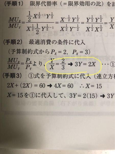 経済学 数学 黄色の丸の部分が意味わからないです。 y/xが2/3になることはわかるのですが、それがいったいなぜ3y=2xになるのですか?