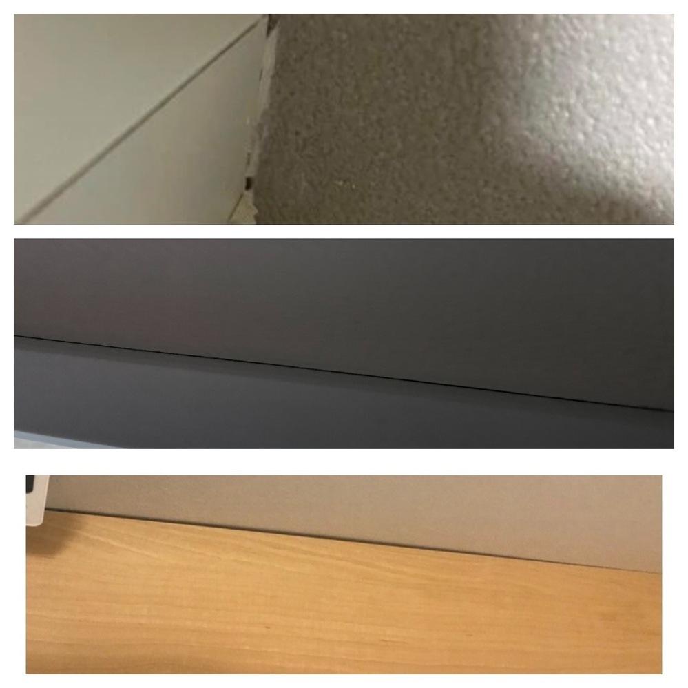 新築を2日前に建てたのですが、各部屋の クロスと巾木の隙間があったり、 トイレにカウンター棚がついてるのですが そこにも隙間があったり、コーティング剤が 雑でやり直しをお願いしたのですが、 隙間...
