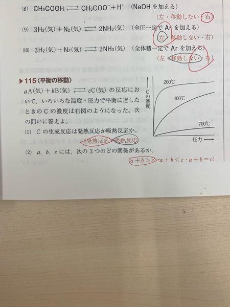 この写真の(1)の問題、同圧で温度が下がると濃度が上がるからCの生成反応は吸熱反応と考えたのですがなぜ違うのでしょうか?