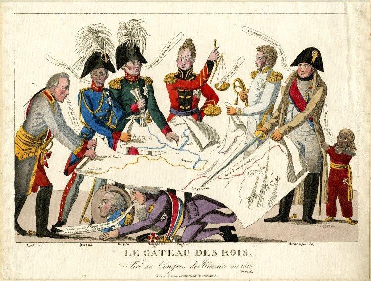 ウィーン会議の風刺画についてです。 右から3番目の横を向いている白い服の男性は誰ですか?そして、なぜナポレオン(右から2番目)はイギリスを切り取ろうとしているのですか?教えてください^^;